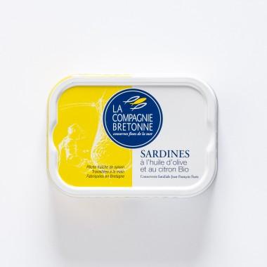 La Compagnie Bretonne du Poisson Sardines à l'Huile d'Olive et au Citron BIO - 115g