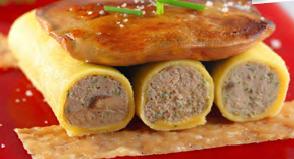 Recette Cannelloni au foie gras et son escalope poêlée au jus d'herbes